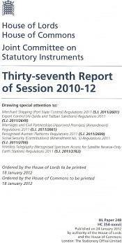 Thirty-seventh Report of Session 2010-12