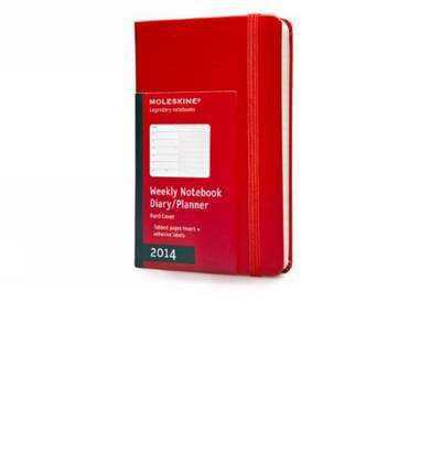 2014 Moleskine Red Pocket Weekly Notebook 12 Month Hard