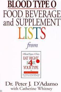 Blood Type O Food, Beverage and Supplement Lists