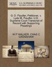 G. O. Paudler, Petitioner, V. Lyda M. Paudler. U.S. Supreme Court Transcript of Record with Supporting Pleadings